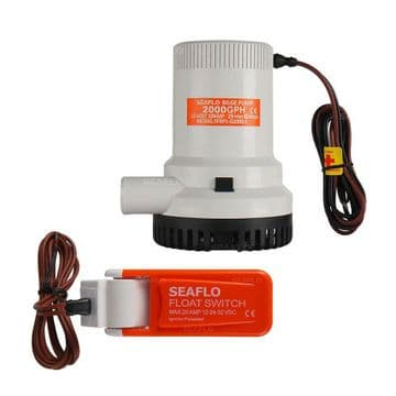 SEAFLO 12v 2000GPH SUBMERSIBLE MARINE BILGE PUMP with AUTO FLOAT SWITCH rohs iso